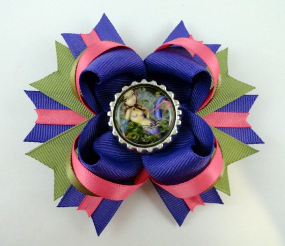 "Jasmine Becket-Griffith  "" Dragonfly Mermaid "" boutique hair bow"
