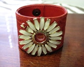 Re-purposed Mondi red leather belt - Ladybug Daisy Cuff