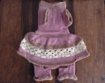 Dog hand made kniting dress 100 % wool