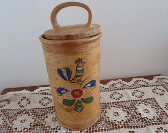 Vintage 1960 s russian birch-bark box with paintng