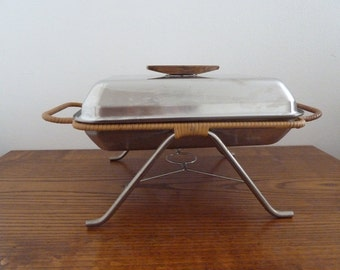 Vintage close casserole danish stailness steel with tray never used lundtofte modern mid century