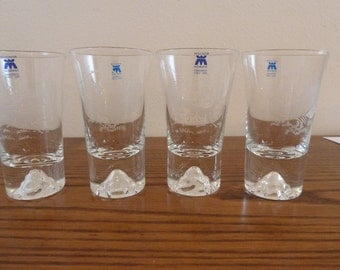 Set of 4 glass Magnor hand made in Norway