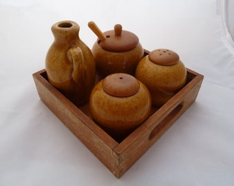 Vintage Sweden teak tray with ceramic salt and pepper shakers Jie