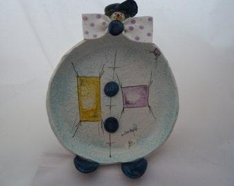 "Vintage Italan art pottery Zampiva Clown wall plate 6"""