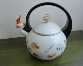 Vintage enamel tea pot Elo sea motif never use