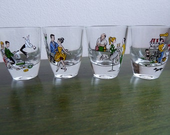 Set of 4 vintage small glasses retro 5cm heigth