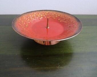 """Vintage emanel on copper candel holder 6 1/3 """"diameter Retro"""