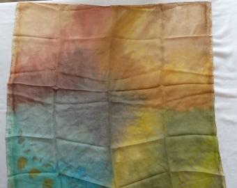 "Hand painted silk scarf 34 "" X34"" batik"