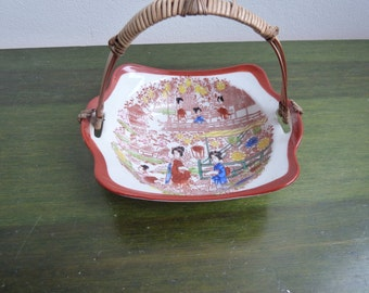 Vintage Japanese porcelain geisha candy bowl basket with handle