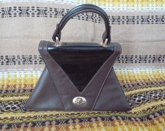 Vintage 60th brawn leather purse bag. Made in England