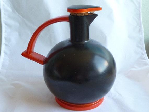 Vintage retro black and orange carafe decanter