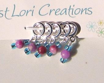 Sock Stitch Markers Blue and Purple
