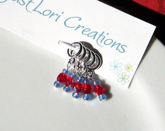 Sock Stitch Markers in red and blue