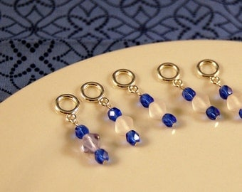 Sock Stitch Markers Frosted White and Blue