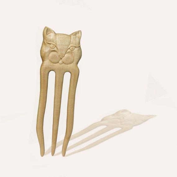 "Hair Fork Wedding ""Cat"" Bridal Wood Carving MariyaArts"