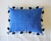 Blue cotton khadi cushion with recycled fabric tassels