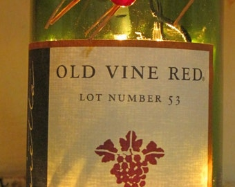 Lighted Wine Bottle Old Vine Red