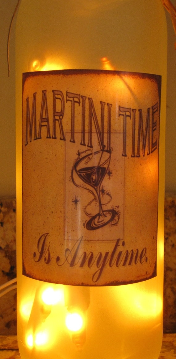 Lighted Bottle Martini Time