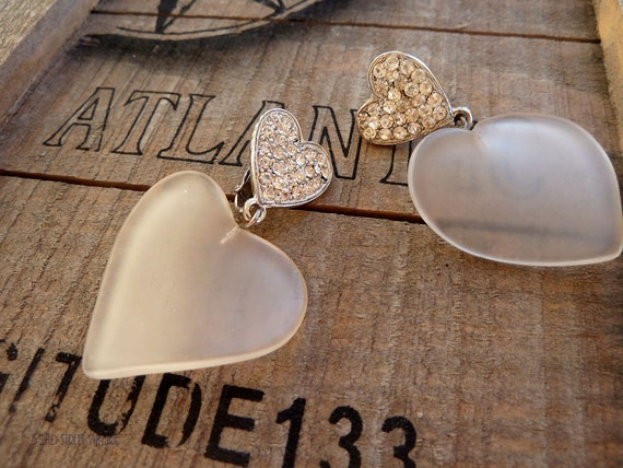 RESERVED for TORIA Frosted Lucite and Rhinestone Dangle Earrings Hearts