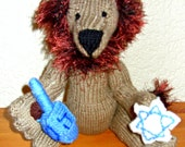 Hanukkah,  hand knitted soft toy, Hanukkah lion with dreidel and star.