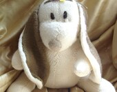 Rabbit, hand knit, adorable plush cuddly toy