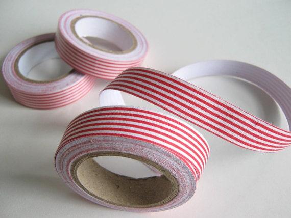 Red/White Stripe Fabric Tape