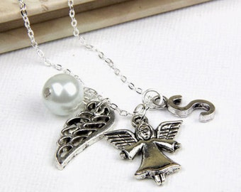 Personalized Angel Necklace with Your Initial and Birthstone -SP01