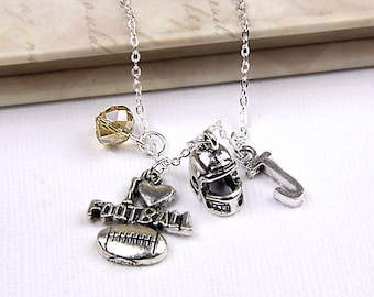 Personalized Football Necklace with Your Initial and Birthstone - SP90