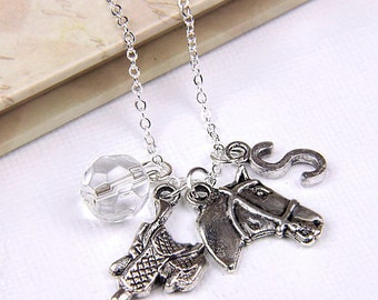 Personalized Horse Lover Necklace with Your Initial and Birthstone - SP117