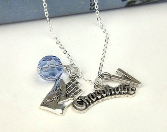 Personalized Chocoholic Necklace with Your Initial and Birthstone - SP400