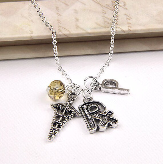 Personalized Pharmacist Necklace with Your Initial and Birthstone - SP43