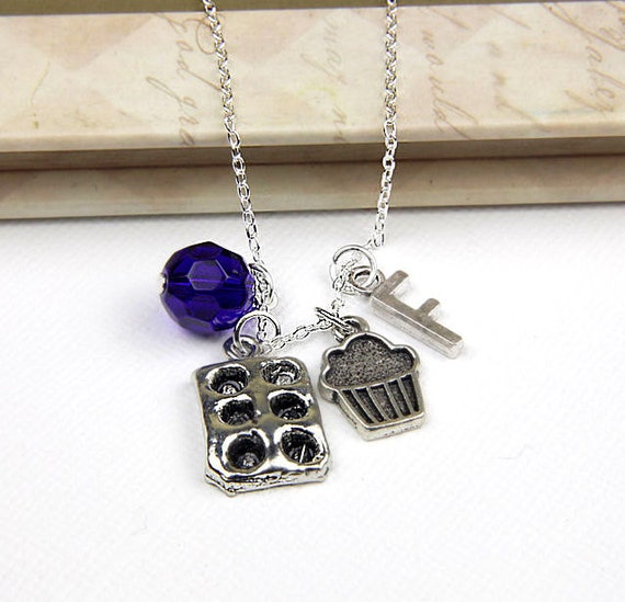 Personalized Baking Necklace with Your Initial and Birthstone - SP20