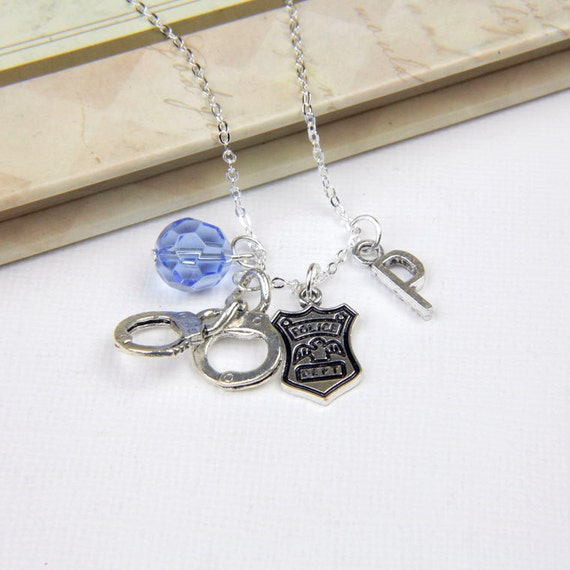Personalized Police Necklace with Your Initial and Birthstone - SP173