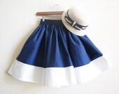 Nautical Navy Blue and Summer Cotton White Sailor Mori girl Full skirt