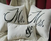 Mr & Mrs Pillow Set French Country Vintage Best Selling Design Cotton 16x16 Pillow Covers and Small Pillow by Nana and Me Creations