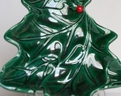 Vintage Lefton Christmas Tree Candy Dish with Holly