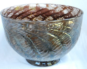 Hand blown chocolate bowl with iridescent herringbone pattern