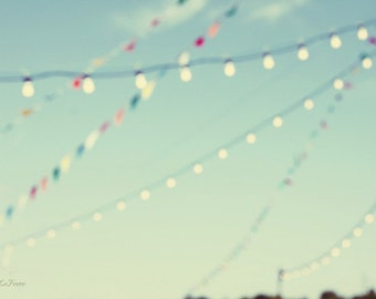magical summer nights, lights, bunting, blue, fine art photography, carnival,