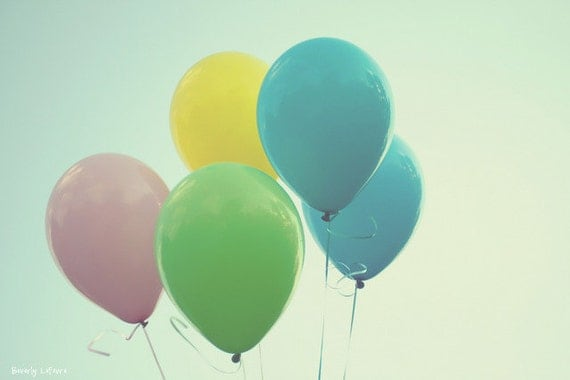 balloons, blue, green, yellow, pink, dreamy, fine art photography