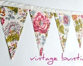 Garden Flowers - Vintage Bunting Banner with 12 Flags