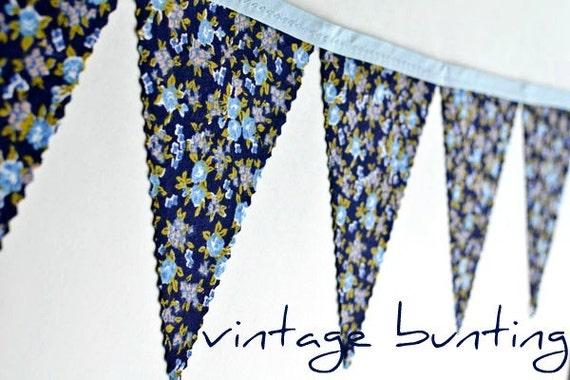 Navy - Vintage Floral Bunting Banner with 12 Flags