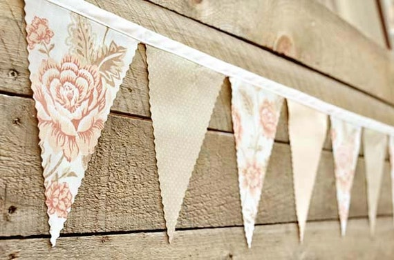 Peach Rose  - Vintage Bunting Banner with 12 Flags