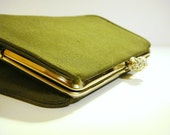 Vintage Fern Green Convertible Clutch with Rhinestone Embellished Clasp by ToteAllVintage