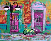 "Colorful Mexican doors, street in small Mexican town, wall art, original painting acrylic on paper by Cristi Fer, 19""x25"""