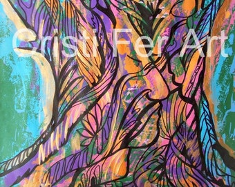 """SALE Abstract trees original art faces and nature wimsical art home decor, 19.5 """"  x25.5""""  mixed media on paper blue green"""