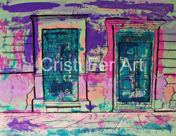 """Green and pink Mexican Door small Mexican Town, original painting acrylic on paper 19""""x25"""" home decor Christmas gift"""