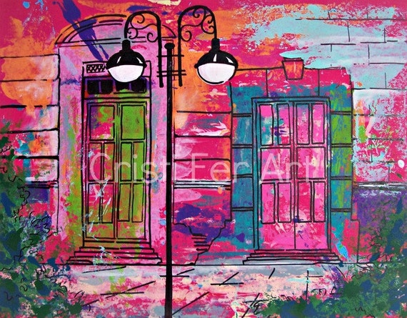 "RESERVED Evening in Mexican town, Mexican architecture, colorful doors, original art home decor, by Cristi Fer, 19.5""x25.5"""