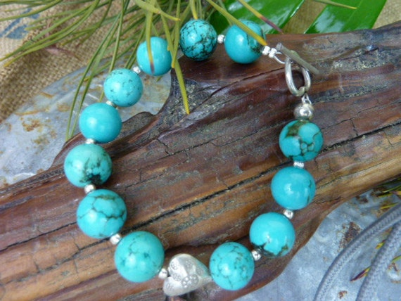 Sale...SUNDANCE STYLE turquoise bracelet with heart sterling toggle clasp