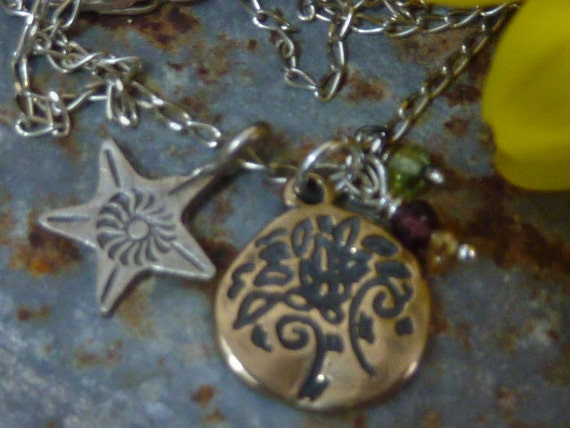 TREE OF LIFE charm sterling and bronze Sundance Style necklace