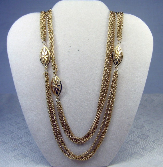 Vintage Gold Chain Multi Strand Necklace